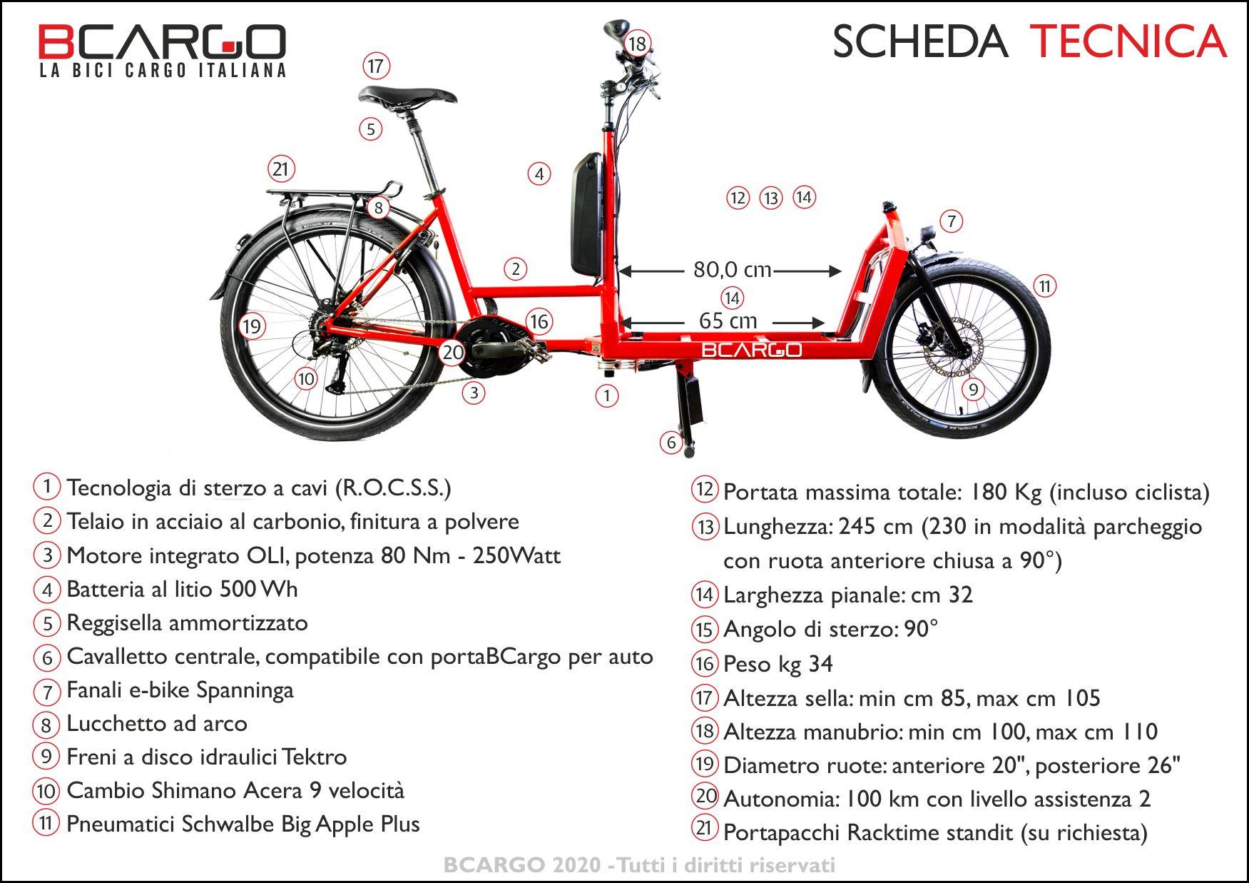 cargo e-bike BCargo scheda tecnica 2020